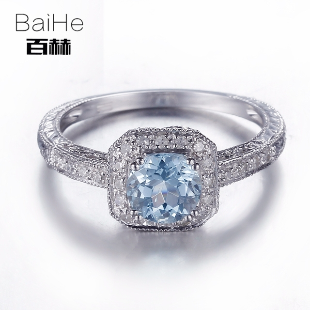 BAIHE Solid 14K White Gold(AU585) 0.84CT Certified Flawless Round 100% Genuine Blue Topaz Wedding Women Trendy Fine Jewely Ring
