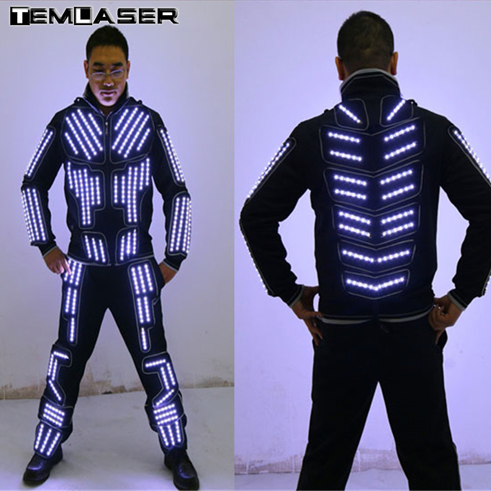 цены New arrived LED Robot Costume/ LED Dance Performance / Luminous Clothing /LED Suits For Men Women DJ Show Light Clothing