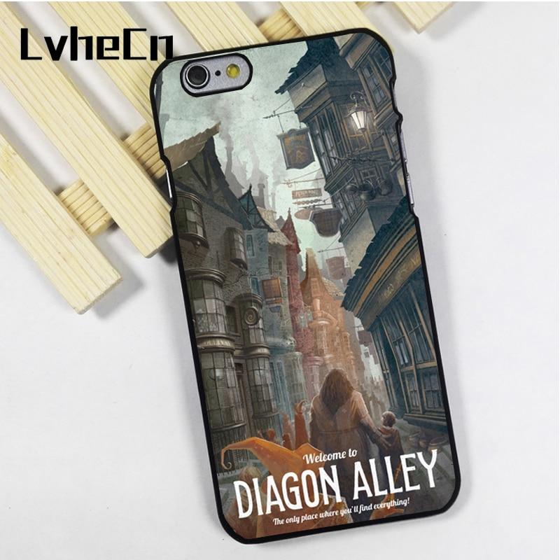 LvheCn phone case cover fit for iPhone 4 4s 5 5s 5c SE 6 6s 7 8 plus X ipod touch 4 5 6 Diagon Alley Harry Potter Art