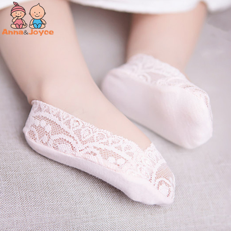 5pairs/lot  Baby Girl Lace Socks Shallow Mouth Invisible Traceless Elastic Boat Focks Feet Slip Silicone