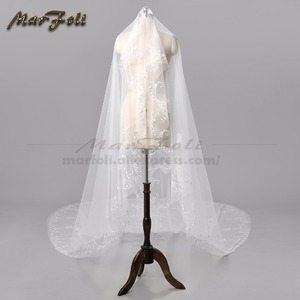 Image 2 - Wedding Veil 4 Meters Length 2.5M Width Real Image White\Ivory Sequins Bead Edge Cathedral Bridal Veils wedding accessories