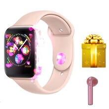 Smartwatch + наушники/комплект Новое поступление 2019 года IWO 8 MTK2502C красный круглая кнопка 44 мм серии 4 reloj Депортиво hombre для iphone 6 7 X