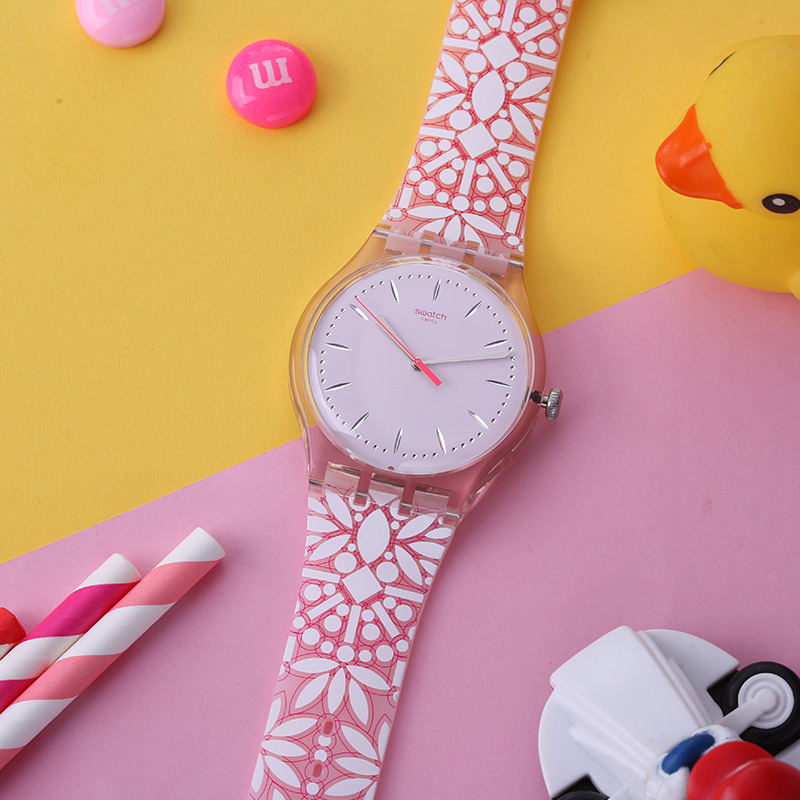 Swatch watches original series of colorful pink flower pattern and quartz table SUOP109 flower and bird pattern colorful pillow cover