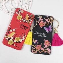 Весенний фестиваль сливы цветок 3D Мягкая силиконовая Мобильный Телефонные Чехлы для iPhone7 7 Plus Пластик защитный Корпуса Coque принципиально