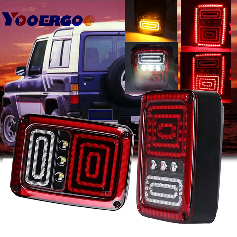YAIT 1Pair Led Tail Lights with DRL Brake Rear Turn Signal Reverse Lamp LED Taillight for Jeep Wrangler JK hireno tail lamp for mercedes benz w220 s280 s320 s350 s500 s60 1998 05 led taillight rear lamp parking brake turn signal light