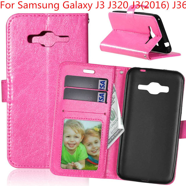 quality design 55601 b87f7 US $3.52 38% OFF|Crazy Horse Flip Leather Wallet Case Cover For Samsung  Galaxy J3 J320 J3(2016) J36 back with stand Holder Cover coque capinha-in  ...