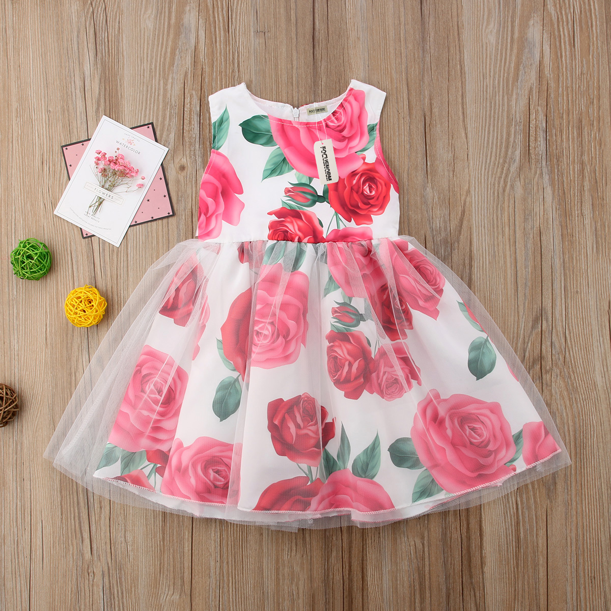 631cdfb3b80a Toddler Kids Baby Girls Flower Sundress Princess Party Tulle Tutu ...