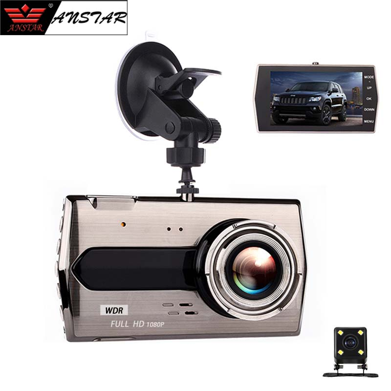 ANSTAR Video Car Camera 4 inch FHD 1080P 170 Wide Angle Dual Lens With Rear View Camera Car DVR G-Sensor Night Vision Recorder цена и фото