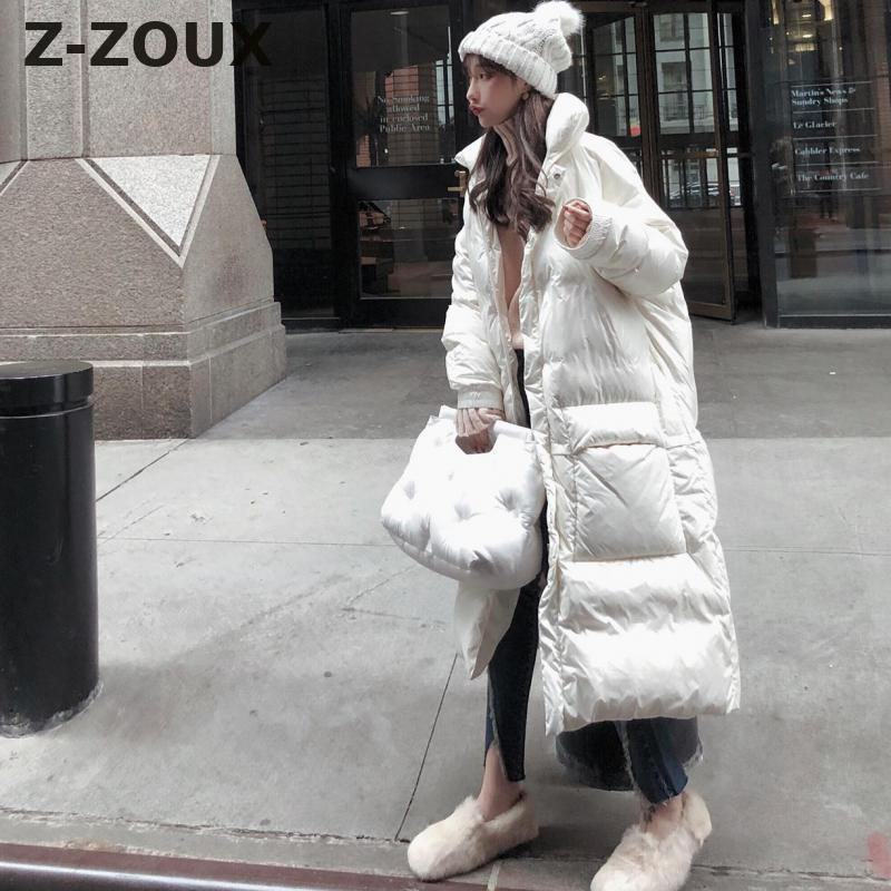 Z-ZOUX Womens   Down   Jackets Long Sleeve Loose Long   Down   Jacket Thickened Warm   Down     Coats   Women Parkas Fashion Leisure Winter   Coat