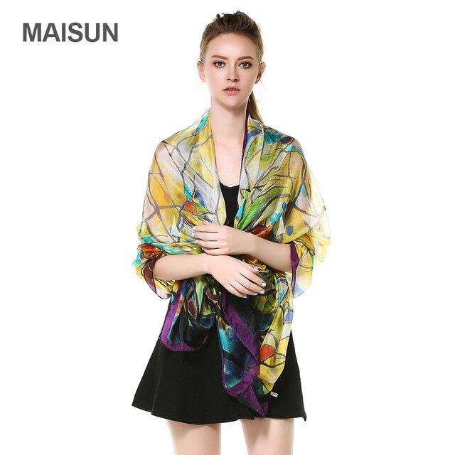 [MAISUN] High Quality Thin Silk Fabrics Shawl 180x110cm Big Size Sunscreen Scarves Lady Country Style Silk Scarf