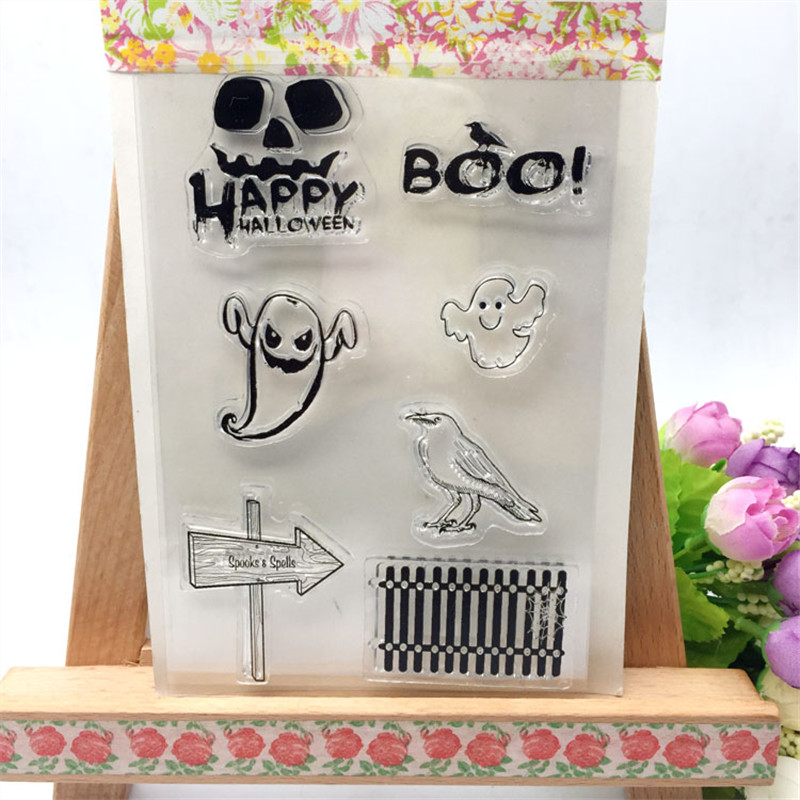boo happy halloween day transparent clear stamp diy silicone seals scrapbookingcard makingphoto