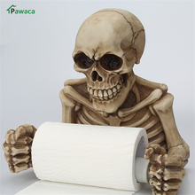 Toilet Paper Rack Resin Skull Tissue Box Holder Wall Mount Sanitary Roll Storage Bathroom Organizer