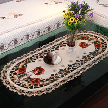 Hot European pastoral embroidered tablecloth elegant dining table cover hollow out coverings chair cover home decoration sale(China)