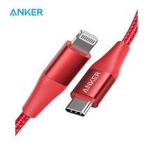 Cabo usb c para lightning anker powerline + ii, cabo de nylon trançado, certificado de mfi para iphone 11/11 pro/x/xs etc, suporte a entrega de energiaCabos flexíveis de celular