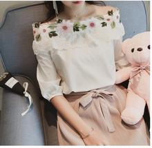 Summer Off Shoulder Top Women Embroidery Flower Slash Neck Casual Tops White Blouse Female Blusa Shirt Women Blouses