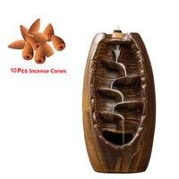 Ceramic Smoke Backflow Cone Holder Incense Burner With 10pcs Incense Home Decor