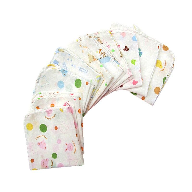 10 Stücke Baby Fütterung Handtücher Cartoon Dot Dünne Gaze Pflege Frottee Gedruckt Baumwolle Taschentuch 25 Cm Hanky Cep Mendil Taschentu Exquisite Traditionelle Stickkunst