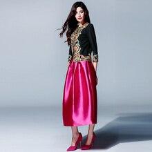 Spring Autumn Women's 2 Piece Skirt Set Black Blouse+Ball Gown Saia Exquisite Appliques Vintage Twin Sets Suits Top Quality