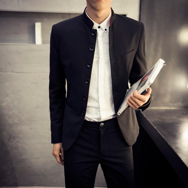 2016 High Quality Men's Black Chinese Tunic Suit Mens Blazers Mens Blazers Long Sleeve Suit Jacket Blazer Jackets