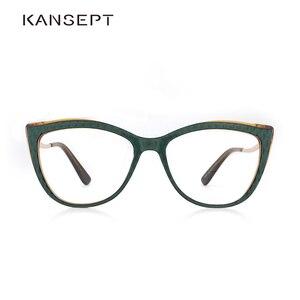 Image 1 - Acetate แว่นตาสตรีแว่นตาผู้หญิงสายตาสั้นสีเขียวกรอบแว่นตาแฟชั่นแว่นตา #9015