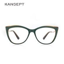 Acetato feminino óculos lente óptica óculos feminino miopia verde óculos quadros tendência moda óculos #9015