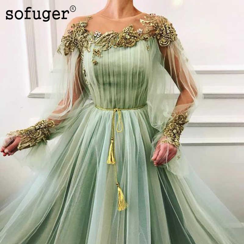 Lange Puffy Mouwen Scoop Sash A Line Avondjurk Riem Robe De Soiree Plus Size Vestidos De Fiesta De Noche formele Party Dress