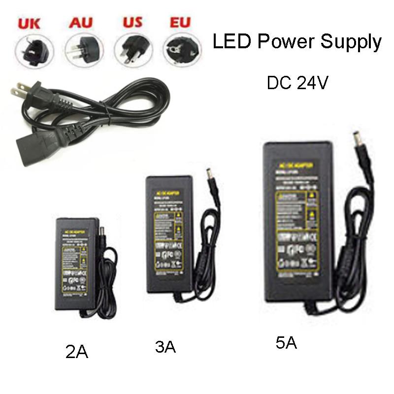 AC100~240V to DC 24V 2A 3A 5A LED Power Supply Transformer Adapter US EU AU UK Plug For 24V LED Strip String Light dc 100 240v dc power supply 12v 2a adapter charger led transformer au plug