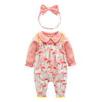 Infant Girl Clothing Set Newborn Outfits Cotton Baby Girls 3Pcs Long Sleeve Pink Tops Flamingo Overalls Headband Clothes Suit
