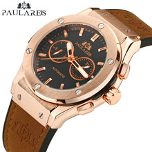 Men Automatic Self Wind Mechanical Rose Gold Silver Black Case Brown Leather Rubber Strap Casual Sports Geneve Watch(China)