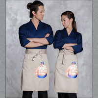 2018 Free Shipping Sushi Waiter Work Clothes Japanese Restaurant Chef Jacket Top Quality Hotel Receptionist Kimono