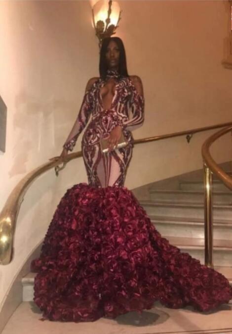 Luxe bordeaux robes de soirée africaines manches longues sirène robes de soirée avec paillettes trou de serrure avant élégant Rose fleur bal