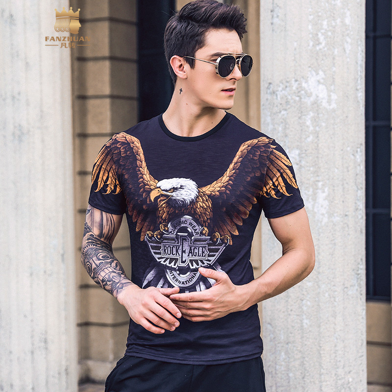FANZHUAN Free shipping New 2019 eagle pattern short sleeves mens male fashion hipster trend T shirt round neck spring 925012