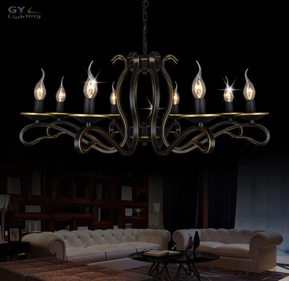 ac110 220v lustres retro rustic pendant light fixture modern 8 lights suspension lamp vintage. Black Bedroom Furniture Sets. Home Design Ideas