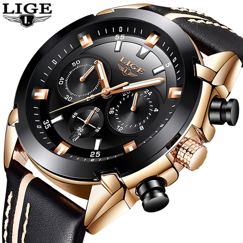 Luxury Quartz Chronograph Shockproof Watch Leather Band