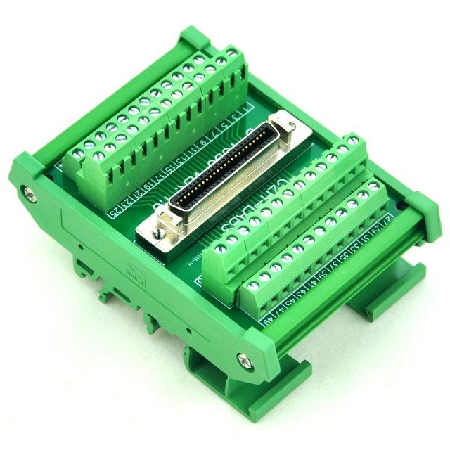 "DIN Rail Mount pinos 0.05 ""Mini Fita D/MDR Módulo de Interface do Sexo Feminino, SCSI."