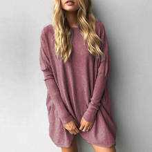 Sexy O-Neck Solid Women T-Shirt Long Batwing Sleeve Loose Knitted Pullover Female T Shirt Vintage Boho Style Casual Clothes 2019 plain loose round neck batwing sleeve t shirt
