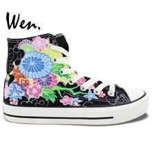 Wen Original Design Custom Hand Painted Shoes Floral Diverse Flowers Women Men's High Top Black Canvas Sneakers