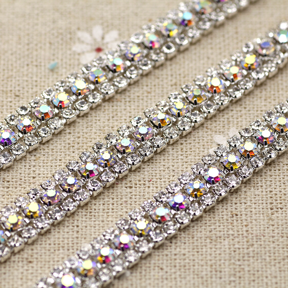 1 Yard 3 Rows Crystal + Color AB Rhinestone Cup Chain Silver Base With Claw Dress Decoration Trim Applique Sew On Garment Bags