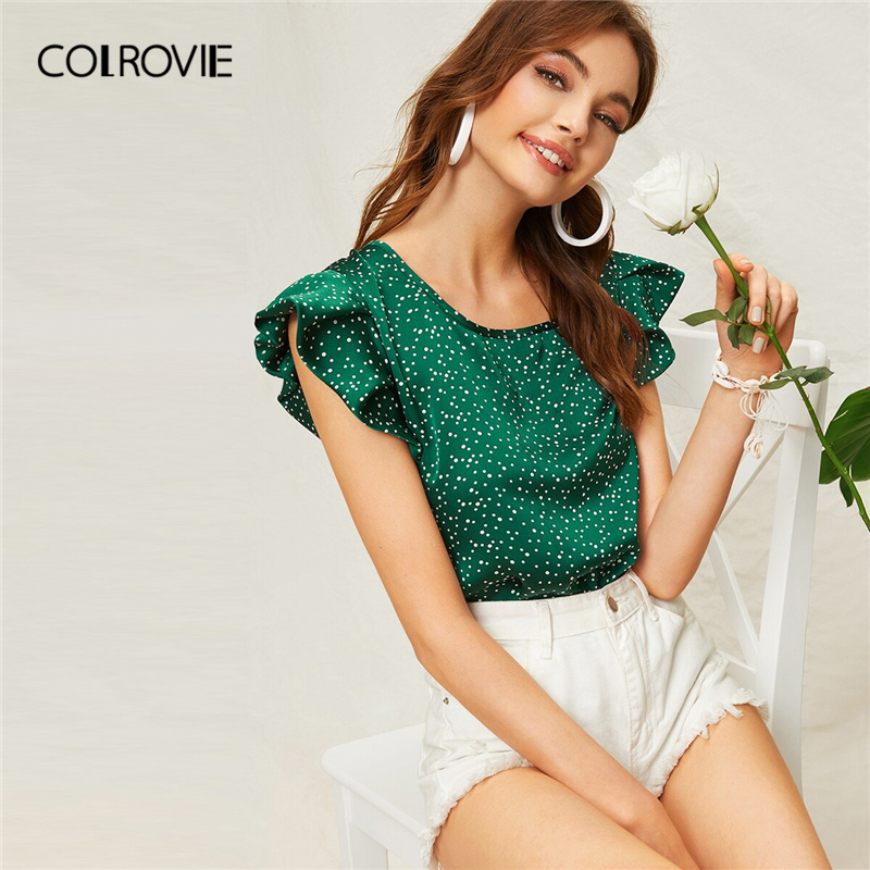 COLROVIE Green Butterfly Sleeve Polka Dot Boho   Blouse     Shirt   Women Cute Tops 2019 Summer Brown Holiday Vacation Girly   Blouses