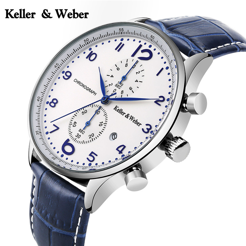 Keller & Weber Chronograph Watch 30ATM Water Resistant Business Genuine Leather Band Date Display Wrist Watch keller