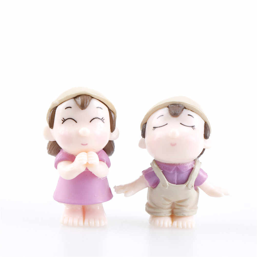 1 Pasang Sweety Pecinta Beberapa Patung Miniatur Fairy Taman GNOME Lumut Bristol Resin Kerajinan Dekorasi Aksesoris