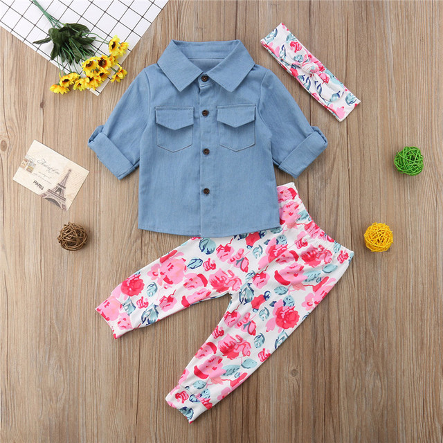 21aa2be35 Kids Baby Girls Tops Denim Turn Down Collar Button T Shirts   Floral ...