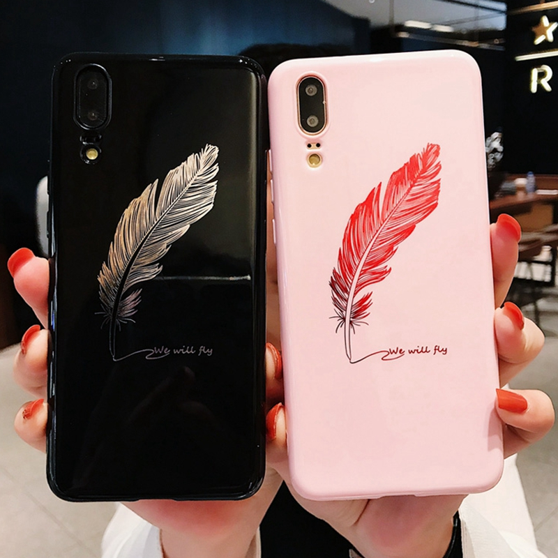 For Huawei Honor 10 P20 Pro Case 3D Feather Relief Soft Silicone Case For huawei P20 honor 9 10 lite V10 Pink Cover Capa P20lite feature phone