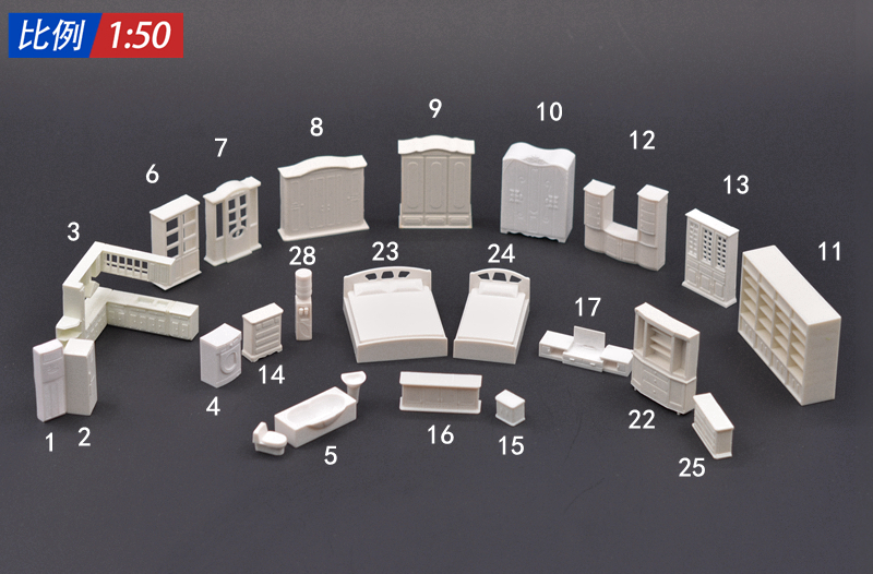 1/50 scale ABS plastic sand table model making scenery. indoor furniture for architecture