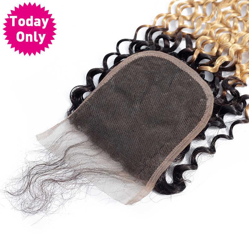 Todayonly Brasil Keriting Keriting Rambut Bundel dengan Penutupan Rambut Pirang Bundel dengan Penutupan Ombre Rambut Manusia Bundel dengan Penutupan Remy