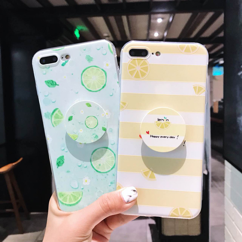low priced 5bcf5 a39bd Lemon Iphone 8 7 X 6S Plus With Tempered Glass Pop Socket Back Phone Holder  Cover For Iphone 5 5S SE 6 7