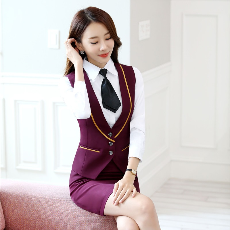Ladies Office Formal Blazers Autumn Winter With Vest And Skirt For Women Business Blazer Uniforms Outfits Plus Size Red