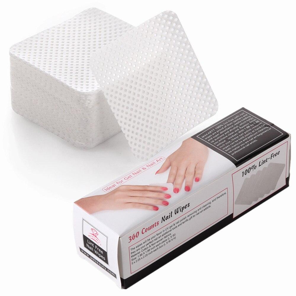 MAKARTT 360 pz/scatola Lint Chiodo Libero di Panni Pad Morbido Assorbente Polacco Del Gel di Punte Acriliche Remover Cotone Cleaner F0680