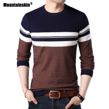 Mountainskin Mens Pullover Autumn Wool Slim Fit Knitted Sweater O-Neck Striped Mens Brand Clothing Casual Pull Homme SA688