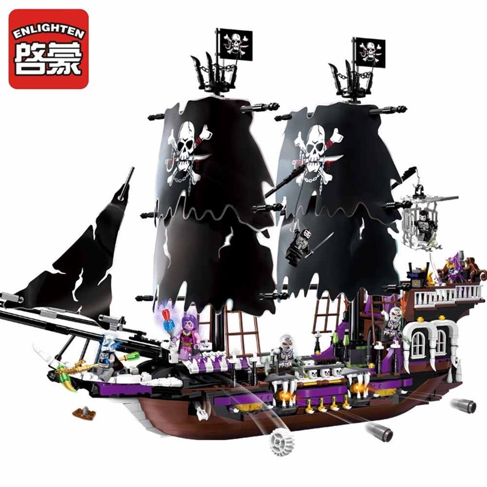 Enlighten Pirate Educational Building Blocks Toys For Children Gifts Knight Magi Ship Undead Compatible Brand 2203pcs enlighten building blocks toys for children knight seal god series demon scooter boy gifts compatible all brand bricks